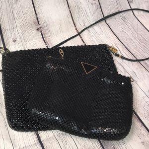 2 Vintage Metal Bags (sequin look) Black W/ Gold